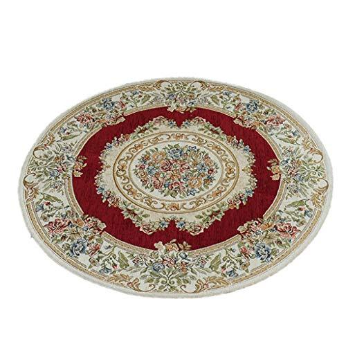 Unbekannt Retro Blumen-Badezimmer-Boden-Matte, persische runde rundliche Teppiche der Pfingstrose für Wohnzimmer, barocke Rococo-Bereichs-Wolldecken, Anti-Schleuder-kurzer Stapel-Teppich