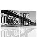 Feeby. Leinwandbild Bilder Wand Bild - 2 Teile - 200x100cm, quadratische Form Wandbilder Kunstdruck, NEW YORK, BROOKLYN BRIDGE, ARCHITEKTUR, SCHWARZ UND WEIß