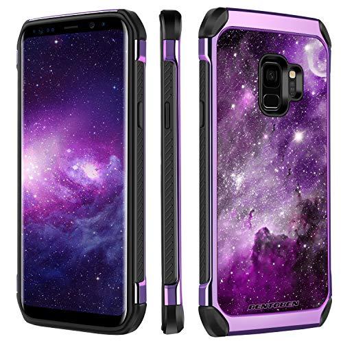 BENTOBEN Samsung S9 Hülle, Galaxy S9 Case Cover, Galaxy S9 Handyhülle Galaxis Nebula Muster stoßfest Schutzhülle Hybrid PC Schale TPU Cover Hülle für Samsung Galaxy S9 Lila