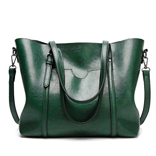 EssVita Sacs à main Femme sacs à bandoulière PU cuir Poignée supérieure Cartable Messager Sac Vert
