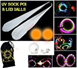 UV-Socke Poi Set + 2x LED Glow Jonglierbälle (orange) + Reisetasche, inklusive Batterien.