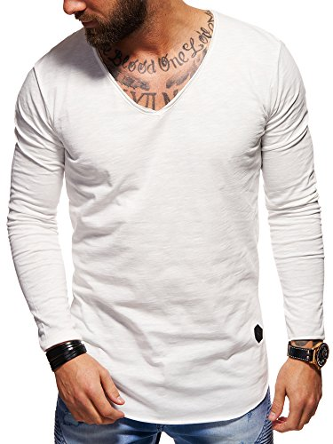 behype. Herren Langarm Basic Longsleeve V-Neck T-Shirt 30-3741 Weiß XL - Long Sleeve V-neck-shirt