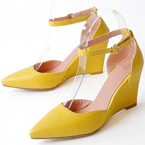 COOLCEPT Damen Mode Knochelriemchen Sandalen Keilabsatz Geschlossene Schuhe Gelb