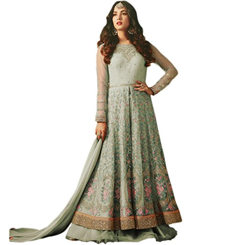 Ethnic Empire Women's net Semi Stitch Salwar Suit (Ethnic_ER11267_Light Green_Free Size)