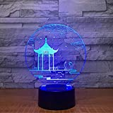 Alter Pavillon-Art-Acrylusb 3D Führte 7 Farbänderungs-Inneneinrichtungs-Schlaf, Der Lampe Der Optischen Täuschung Beleuchtet