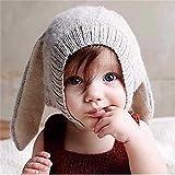 okaler All 'Häkel-Spitze Ohren Hase Winter Warm Ohrenschützer Mütze 0–5Jahre einheitsgröße grau