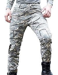 Libertepe Pantalon Sport Multi Poches Militaire Cargo Respirant Sports Sans Ceinture Casual Pantalon Hiver Homme Cyclisme