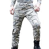 Libertepe Pantalon Sport Multi Poches Militaire Cargo Respirant Sports Sans Ceinture Casual Pantalon Hiver Homme Cyclisme Camouflage B FR48-50(tag sizeXL)