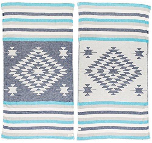 Bersuse 100% Baumwolle - Carmen Türkisches Handtuch - Badestrand Fouta Peshtemal - OEKO-TEX Zertifiziert - Azteken Design auf Handwebstuhl gewebtes Pestemal - 100X180 cm Dunkelblau/Türkis (Baumwoll-terry-stoff-robe)