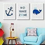 Azul marino velero ballena ancla vivero decoración náutica lienzo impresiones pintura pared arte cuadros para niño niños habitación decorativa E 50 * 70 cm