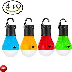 LED luce di campeggio,ZKCREATION escursionismo pesca impermeabile luce di emergenza lampadine da campeggio alimentato a batteria da campeggio per interni ed esterni, illuminazione a LED (4 pezzi- Batterie non incluse)