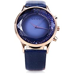 Leopard Shop GUOU 8107 Female Quartz Watch Sparkling Surface Square Cut Mirror Genuine Leather Strap Blue