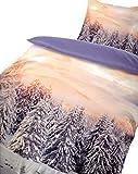 Leonado Vicenti Warme Thermofleece Bettwäsche 4 teilig 135x200 cm Winterlandschaft Schnee Wendebettwäsche mit Reißverschluss
