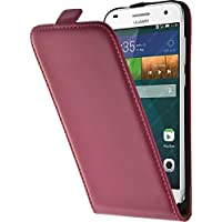 PhoneNatic Kunst-Lederhülle für Huawei Ascend G7 Flip-Case pink + 2 Schutzfolien