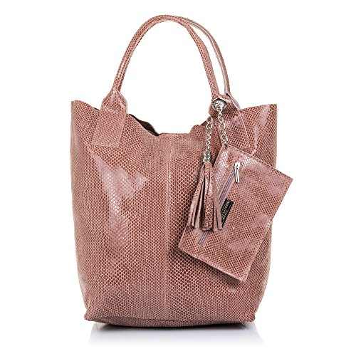 Firenze ARTEGIANI.Bolso Shopping Bag de Mujer Piel auténtica.Bolso Cuero Genuino Piel Acabado...