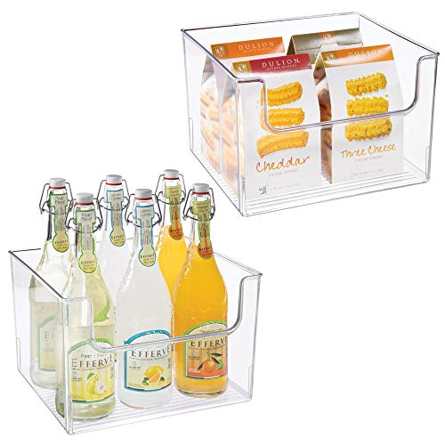 mDesign 2er-Set Aufbewahrungsbox für Lebensmittel - Küchen Ablage mit offener Vorderseite für Kühlschrank, Schrankfach oder Gefriertruhe - Kühlschrankbox aus BPA-freiem Kunststoff - durchsichtig