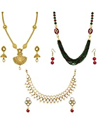 The Bandwagon Kundan Copper And Brass Golden Necklace Set TBW-Combo275