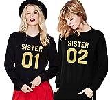Damen Casual Kapuzenpullover Sister Hoodie Langarm Pullover Crew Neck Sweatshirt Princess Bluse Tops von Ziwater (01-2XL+02-S, Schwarz)