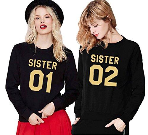 *Damen Casual Kapuzenpullover Sister Hoodie Langarm Pullover Crew Neck Sweatshirt Princess Bluse Tops von Ziwater (01-XS+02-XS, Schwarz)*