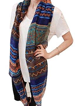 Nueva moda mujer Pañuelo de seda suave chal Bufandas Cape ,AZUL