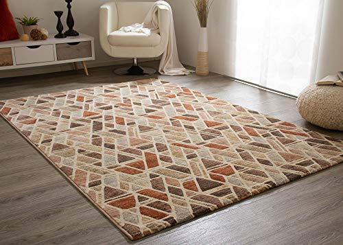 Steffensmeier Kurzflorteppich Harmonious Colours | Teppich mit modern gestaltetem Muster für Wohnzimmer in Beige, Größe: 133x195 cm
