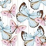 Servietten Schmetterlinge Geburtstag Geschenk Hochzeit Taufe Kommuion Konfirmation Firmung Feier Fest Party Sommer Garten rosa/hellblau, 33x33cm, 20 St.Pack, FSC, 3lagig, wiederverschließbare Packung