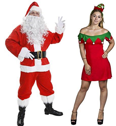 ILOVEFANCYDRESS Weihnachts Paar KOSTÜM VERKLEIDUNG=Deluxe WEIHNACHTSMANN Santa Paar=FRECHES Weihnachts ELF Mini Skater/Kleid+ELF HÜTCHEN+10 TEILIGER Nikolaus=Santa-XXXLarge & ELF- XSmall (Paare Kostüme Freche)