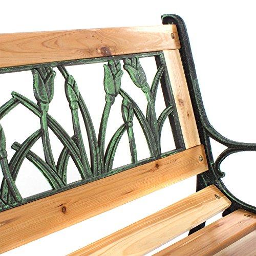 Gartenbank Holzbank Bank aus Gusseisen Holz inkl. Schutzhülle Tulpendesign - 5