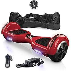 """ACBK Hoverboard Patinete Eléctrico Autoequilibrio 6,5"""" con Bluetooth, Luces LED, Mando a Distancia, y Funda de Transporte (Rojo)"""