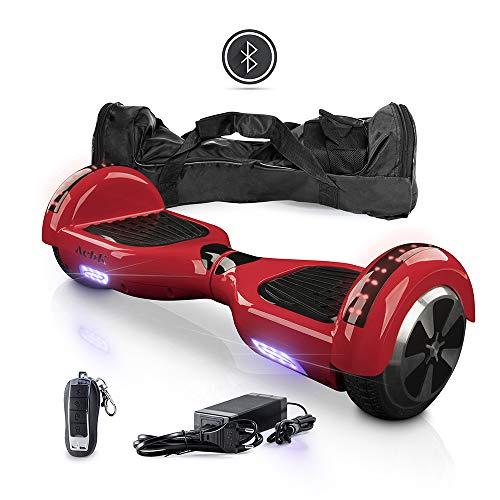 """ACBK Hoverboard Patinete Eléctrico Autoequilibrio 6,5\"""" con Bluetooth, Luces LED, Mando a Distancia, y Funda de Transporte (Rojo)"""