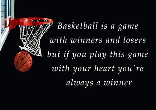 12Basket è un gioco con vincitori e vinti ma se questo gioco con il cuore sei sempre un vincitore motivazionale inspirational Love Life Quote Parole Belive determinazione Miglior portafoto colore unico Stampa A4laminato Poster Da Parete - Inspirational Cuore