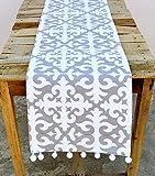 VLiving Navidad Camino de mesa, impresión de Marruecos, gris y blanco, algodón Camino de mesa, bohemio, tamaño disponible, 100% algodón, gris, blanco, 14x24