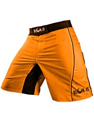 Pantalones Cortos para Peleadorde Blok-IT - Estos Shorts de Boxeo y MMA son Grado Competencia, pero Flexibles y Cómodos para todos el Entrenamiento Diario - Ideales para Todas las Artes Marciales, Surf, y Andar en Patineta(Naranja,XL)