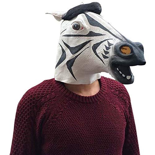 QWEASZER Voller Kopf Zebra Maske Latex Tier gruselig Halloween Cosplay Party Kostüm, Gummi Masken-männlich-One Size (Zebra),Zebra-OneSize