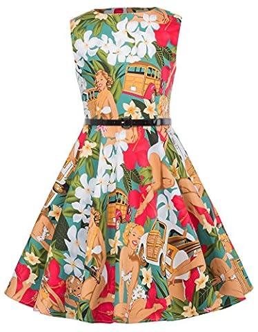 Fille Rétro Vintage Robe de Princesse sans Manche Taille pour Fille 8~9 Ans FR0250-22