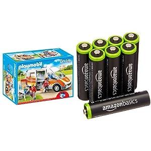 Playmobil - Ambulancia con luces y sonido (66850) y 8 pilas recargables AAA de AmazonBasics