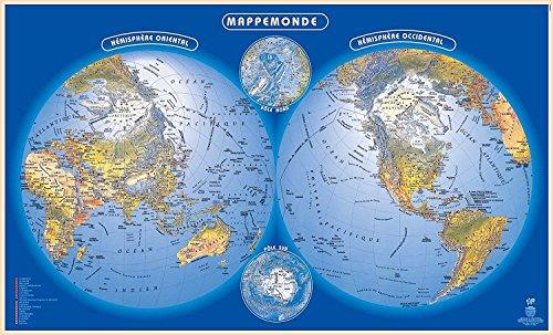 Carte Planisphère / Sous Main Mappemonde (dimension 35 X 60 cm) Impression 2013