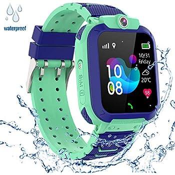 GPS Niños Impermeable Smartwatch, Reloj Inteligente Smart Watch Telefono con GPS Rastreador Conversación Bidireccional Llamada por Voz Chat SOS Cámara ...