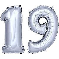 DekoRex® número globo decoración cumpleaños brillante para aire en argentado 40cm de alto No. 19