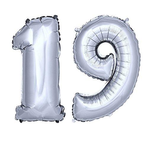 DekoRex número Globo decoración cumpleaños Brillante para Aire y Helio en argentado 120cm de Alto No. 19
