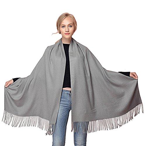 Und Schals Für Capes Frauen (GWELL Klassische Kaschmir Poncho Cape Überwurf Damen Schal für Winter Herbst Oversize 190x70cm hellgrau)