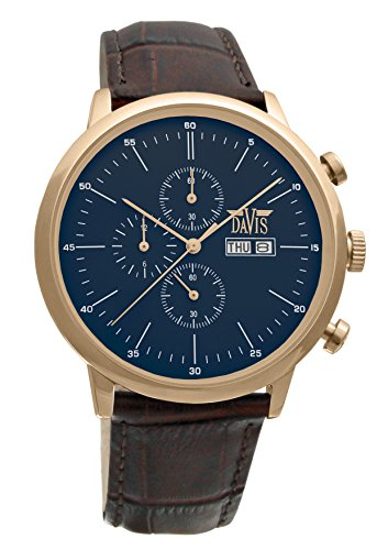 Davis 1957 - Mens Sport Watch Classic Retro Rose Gold Case Chronograph Waterresist 50M Blue Dial Day Date Brown Leather Strap