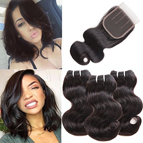 Brazilian Body Wave Hair 3 Bundles with Closure 50g/pcs Body Wave Lace Closure With Hair Bundles 100% Human Hair Brazilian Hair Bundles With Closure Brazilian Human Hair Extensions (8 8 8+8)