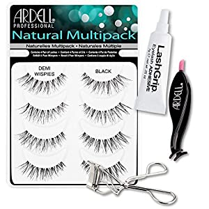 Ardell Fake Eyelashes Demi Wispies Value Pack - Natural Multipack Demi Wispies (Black), LashGrip Strip Adhesive, Dual Lash Applicator, Cameo Eyelash Curler - Everything For Perfect False Eyelashes by Ardell