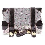 F Fityle 1 Stück Miniatur Holz Koffer Reisetasche Gepäckbox für 1/6 Puppenhaus Zubehör - Blumen Muster