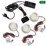 Trano LED Schrankleuchte rund warmweiß – im 2-6 Set – Moderne Lampen von hoher Qualität – Küchenbeleuchtung Schranklampe Leuchte   Aluminium - 2er