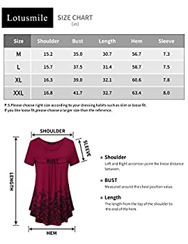 Lotusmile Trendy Tops For Women, Summer Funny Floral Shirts Loose Casual Short Sleeve Plain Simple Swing Business Office Tunic Blouse,dcn Xl 4