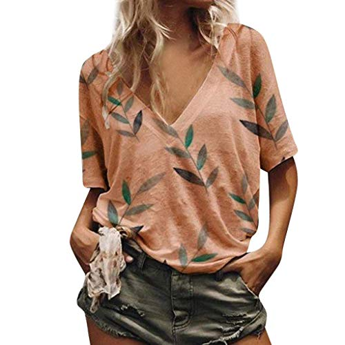 Kviklo Deman Plus Size T-Shirt Top V-Ausschnitt Bambusblätter Drucked Loose Kurzarm Bluse Oversize(5XL(48),Orange)