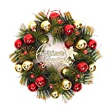 "Kransen 15.7"" Kroon van Kerstmis kunstmatige rode Kroon van de Bal pijnboombladeren Kroon van Kerstmis Garland thuiskantoor Muur Voordeur Wedding Decor Wreath slingers"