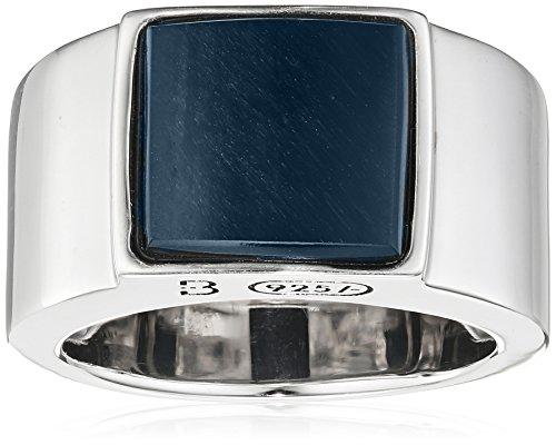 Baldessarini Herren-Ring 925 Silber rhodiniert schwarz lackiert Tigerauge blau 66 (21.0) - Y2121R/90/AG/66